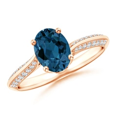 Oval London Blue Topaz Bypass Ring with Diamond Accents
