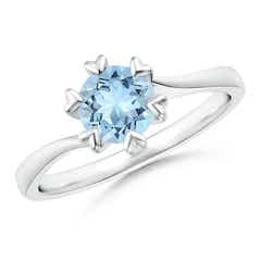 Heart Prong-Set Round Aquamarine Solitaire Ring