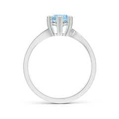 Toggle Heart Prong-Set Round Aquamarine Solitaire Ring