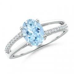 Oval Aquamarine Split Shank Ring with Diamond Accents