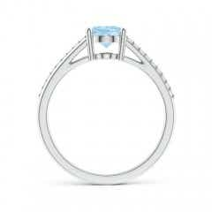 Toggle Oval Aquamarine Split Shank Ring with Diamond Accents