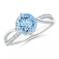 Round Aquamarine Split Shank Ring with Diamond Accents