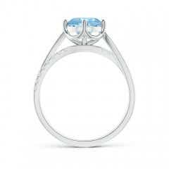 Toggle Round Aquamarine Split Shank Ring with Diamond Accents
