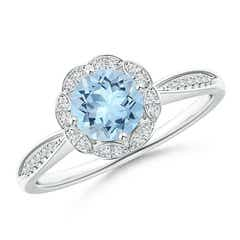 Round Floral Aquamarine Ring with Diamond Accents