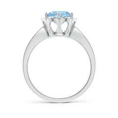 Toggle Round Floral Aquamarine Ring with Diamond Accents