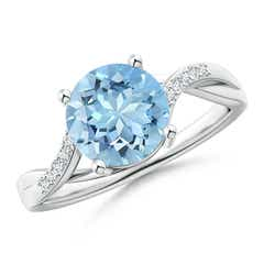 Solitaire Aquamarine Twisted Split Shank Ring
