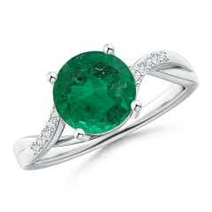 Solitaire GIA Certified Emerald Twisted Split Shank Ring
