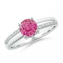 Split Shank Pink Sapphire Solitaire Ring with Diamond Accent