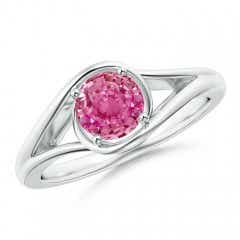 Twist Split Shank Solitaire Pink Sapphire Bypass Ring