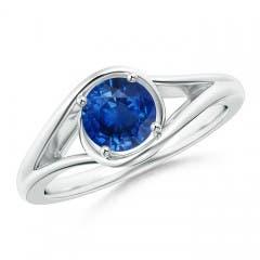 Twist Split Shank Solitaire Blue Sapphire Bypass Ring