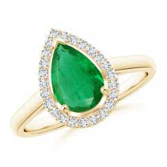 Pear-Shaped GIA Certified Emerald Halo Ring