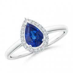 Pear-Shaped Blue Sapphire Halo Ring