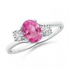 Bypass 3 Stone Pink Sapphire and Diamond Ring with Prong Set