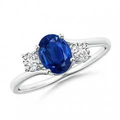 Bypass Blue Sapphire and Diamond Three Stone Ring