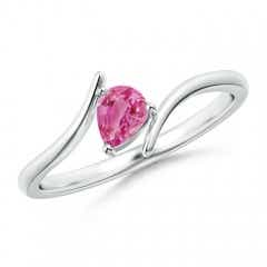 Angara Criss Cross Pear Shaped Pink Sapphire Ring in 14K Yellow Gold LtDL1BIBy7