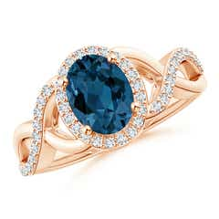 Angara Round London Blue Topaz and Diamond Cathedral Halo Ring oglWKegQ
