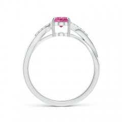 Toggle Oval Pink Sapphire Split Shank Ring with Diamond Accents