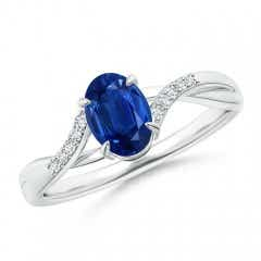 Oval Blue Sapphire Split Shank Ring with Diamond Accents