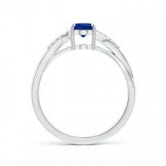 Toggle Oval Blue Sapphire Split Shank Ring with Diamond Accents