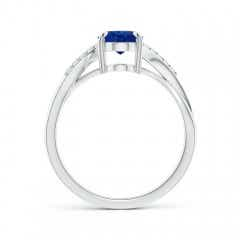 Oval Blue Sapphire Split Shank Ring with Diamond Accent