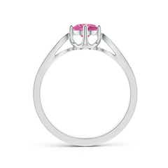 Toggle Vintage Style Round Pink Sapphire Solitaire Ring