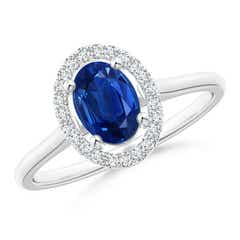 Prong-Set Oval Blue Sapphire Halo Ring