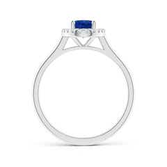 Toggle Prong-Set Oval Blue Sapphire Halo Ring