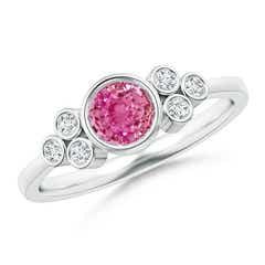 Vintage Round Pink Sapphire Ring with Trio Diamond