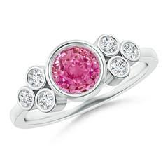 Vintage Style Round Pink Sapphire Ring with Diamond Trio