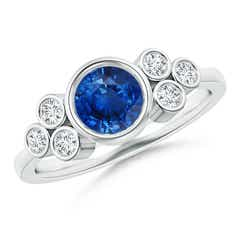 Angara Vintage Round Blue Sapphire Ring with Trio Diamond