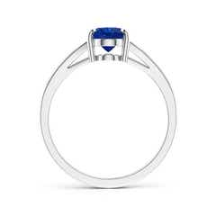 Toggle Vintage Style Solitaire Oval Blue Sapphire Split Shank Ring