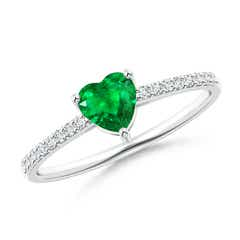 3-Prong-Set Heart Emerald Ring With Diamond Accents