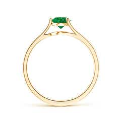 Toggle One Sided Split Shank Round Emerald Solitaire Ring