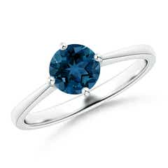 Reverse Tapered Shank London Blue Topaz Solitaire Ring