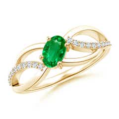 Diagonal Oval Emerald Criss Cross Ring with Diamond Accents