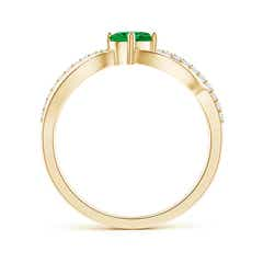 Toggle Diagonal Oval Emerald Criss Cross Ring with Diamond Accents
