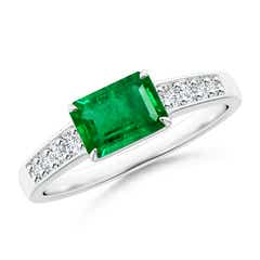 East West Emerald-Cut Emerald Solitaire Ring with Diamond Accents