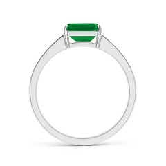 Toggle East West Emerald-Cut Emerald Solitaire Ring with Diamond Accents