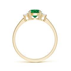 Toggle Prong-Set Round 3 Stone Emerald and Diamond Ring