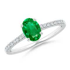 Classic Prong Set Oval Emerald Ring with Diamond Studded Shank
