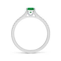 Toggle Classic Oval Emerald Ring with Diamond Studded Shank
