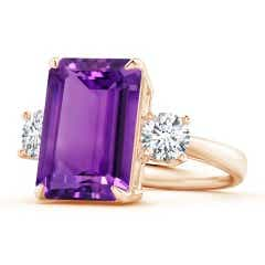 Classic Emerald-Cut Amethyst & Round Diamond Three Stone Ring