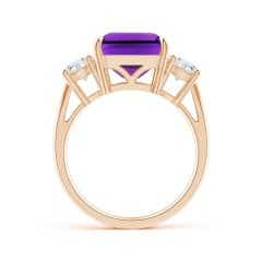 Toggle Classic Emerald-Cut Amethyst & Round Diamond Three Stone Ring