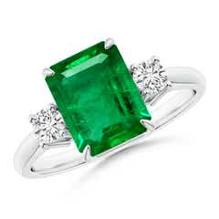 Classic Emerald-Cut Emerald & Round Diamond Three Stone Ring