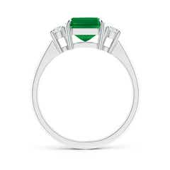 Toggle Classic Emerald-Cut Emerald & Round Diamond Three Stone Ring