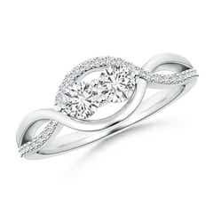 Two Stone Diamond Infinity Twist Engagement Ring