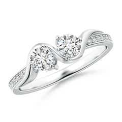 Two Stone Twist Diamond Ring with Prong-Set