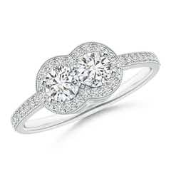 Two Stone Halo Diamond Engagement Ring