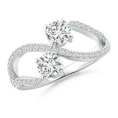 Split Shank Two Stone Diamond Bypass Ring with Prong-Set