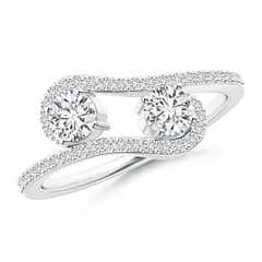 Twisted Two Stone Diamond Bypass Engagement Ring